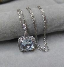 14k Solid White Gold Pave Diamond & Cushion Cut White Topaz Pendant Necklace