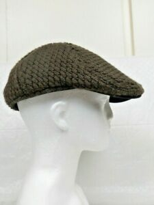 WOOLRICH Brown Knit Acrylic & Wool Flat Cabbie Newsboy Hat Cap - Size Large