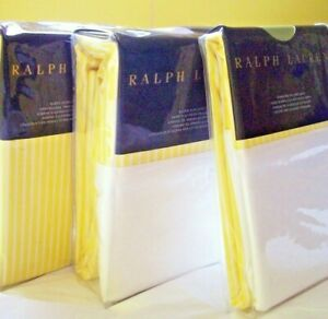 NIP Ralph Lauren Bengal Stripe Slckr Ylw Watch Hill ~ Queen Sheet Set ~ Complete