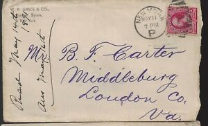 1891 W R Grace & Co, NY to   Middleburg Va Cover