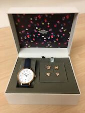 New Fossil Rose Gold Ladies watch with navy strap and earrings set ES4140