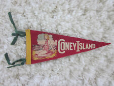 1940's CONEY ISLAND Amusement Park & Beach Illustrated Miniature Cloth Pennant