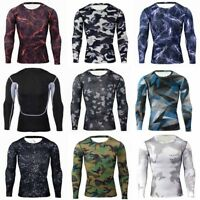 Fashion Men Long Sleeve Tee Shirt Slim Fit Casual T-shirt Men's Tops Floral Grid