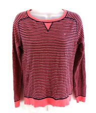 TOMMY HILFIGER Womens Jumper Sweater S Small Pink Navy Stripes Cotton
