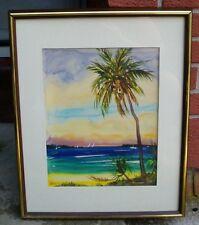 Original Charles T. Stepule Signed Watercolor '77 Beautiful Tropical Shore Scene