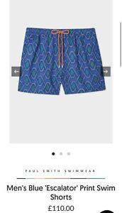 Paul Smith Men's Blue 'Escalator' Print Swim Shorts. M & XL