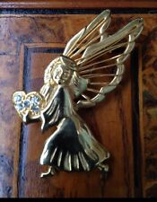 Vintage Signed SFJ Angel with Heart  Christmas Brooch Spilla Natale Angelo Cuore