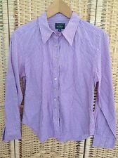 Marilyn Anselm HOBBS Size 14 Purple & White Striped Smart Shirt Cotton