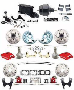 "Four wheel Disc Brake Conversion, Red Wilwood Calipers, 2"" Drop Black Power"