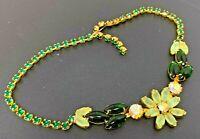 "Vintage Juliana Green Rhinestone Gold tone Necklace 15"""