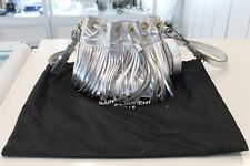 'New Never Used' Yves SAINT LAURENT Silver Mini Suede Bag
