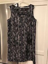 New H & M Women's Shift Sleeveless Dress SZ 14 Black White Gray Snakeskin