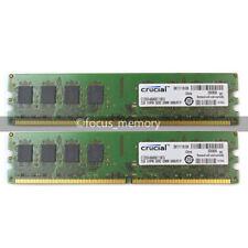 Crucial 4GB 2X2GB  PC2-5300 DDR2 667MHz 240Pin Desktop Memory DIMM RAM Non-ECC