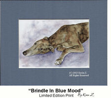 Greyhound Art Print Brindle In Blue Mood Signed Artist Kevin Z Arttogo