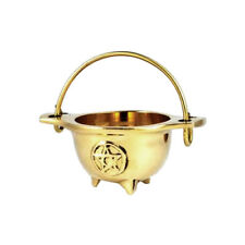 """Small Brass Cauldron Incense Burner 3"""" with Embossed Pentagram Wicca Pagan Magic"""