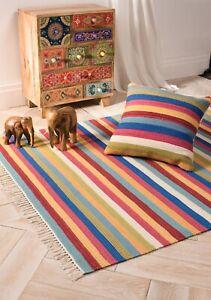 Multi Colour Wool and Cotton Stripe Kilim Living Room Rug 120 cm x 180 cm