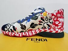 FENDI Women Multicolored floral print canvas lace-up sneaker size EUR 37/ US 6.5