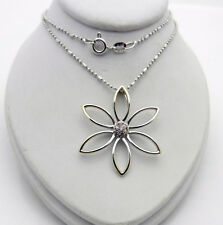 Real 14k White Gold Flower Daisy Charm Pendant Diamond Accent Chain Necklace