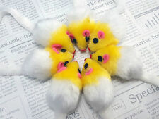 5 x Cat toys Fur Mice Bite Size Chew Doll With Sound Rattling + Free Catnip