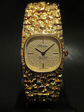 B50 New HOT Sharp Dufonte by Lucien Piccard Women's Gold Nugget Band Watch Swiss