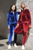 New Ladies Women Velour Designer Time is Money Tracksuit Full Set Loungewear 2Ps