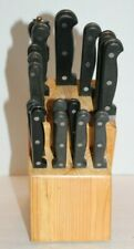 Wood Knife Block ARCOSTEEL Quality Stainless Steel Black Handle 17 Pc Knife Set