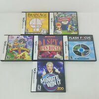 Nintendo DS Kid's Games Lot of 6 Puzzle Sports Mixed I Spy, Brain Age, Baseball