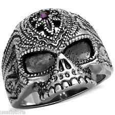 Mens Purple Amethyst Crystal Skull Silver Stainless Steel Ring