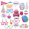 22PCS Happy Birthday Photo Booth Props Mustache On A Stick Party Selfie Game