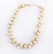 GOLD TONE CREAM FAUX PEARL CLUSTER  WITH DIAMANTE CRYSTAL WEDDING/PARTY NECKLACE