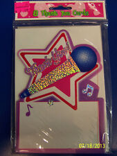 Rock Star American Idol Pop Purple Pink Birthday Party Thank You Notes Cards