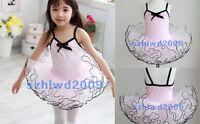 New Girls Ballet Costume Tutu Party Leotard Skirt Dance Skate Dress SZ 3-8Y Pink
