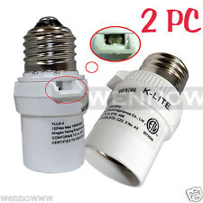 2 Pcs White Dusk To Dawn Photocell Light Control Auto Sensor Light Socket