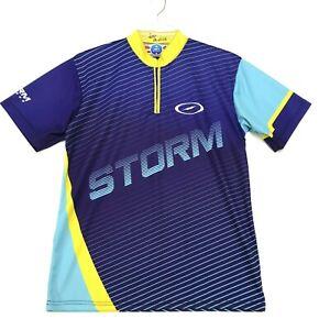 STORM Bowling Jersey 1/4 Zip Mens Size M Medium Purple Blue Short Sleeve