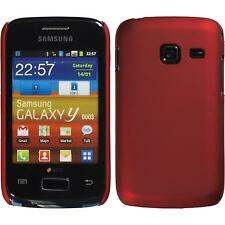 Hardcase für Samsung Galaxy Y Duos Hülle rot gummiert + 2 Schutzfolien