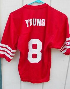 SAN FRANCISCO 49ERS STEVE YOUNG #8  OLD SCHOOL  FOOTBALL JERSEY YOUTH SZ LARGE