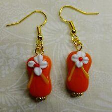 Orange Flip-Flops w Flowers Lamp Glass Beads Fish Hook Earwires Dangle Earrings
