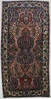 Entrance Vintage Coral Pink 2X5 Sarouk Lilian Hand Knotted Oriental Rug Carpet
