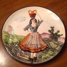 Vtg Souvenir Plate Calabria Italy Woman with amphora marked IL FALCO