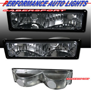 Set of Pair Smoke Signal Bumper Lights for 1988-1999 GMC Chevy C/K Full Size