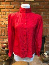 Vintage Vtg 80s Secretary Crimson Red High Neck Button Down Dressy Shirt Top M