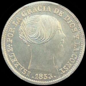 SPAIN 1853 ISABEL II  ☆ SILVER REAL ☆ PCGS GEM MS-65 ☆ BEAUTIFUL WHITE BLAZER☆