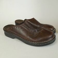 Clarks Womens Brown Leather Mules Slip On Shoes Casual Sz 10 M Mahogany preowned