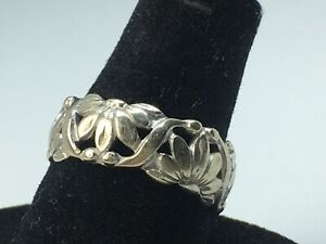 Art Carved 14k White Gold Highly Detailed Floral Wedding Stack Band Ring sz 8.25