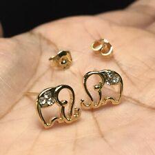 10mm Elephant Gold Tone Tiny Post Earrings Stud Small Cute Womens Vintage Boho