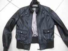Ladies NEXT grey leather JACKET COAT size UK 14 biker aviator bomber distressed