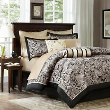Black Gold Bed In A Bag Queen 12 PC Comforter Sheets Skirt Shams Paisley Bedding