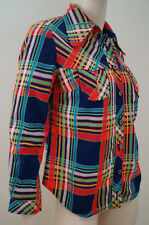 Designer Red Navy Green Blue White Bright Checked Blouse Jacket Top Sz:42; UK10