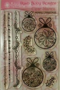 """Dawn Bibby """"Christmas Baubles"""" Clear Stamp Set"""