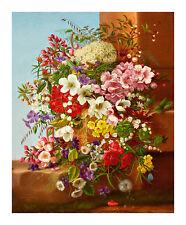 A Bounty of Flowers on Stone Ledge by Adelheid Dietrich 31.3cm x 37.9 Art Print